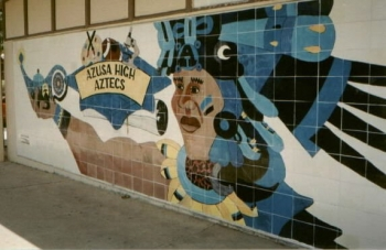 The tile over the old mural.