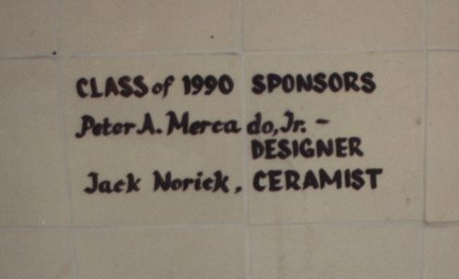The tile over the old mural.1990